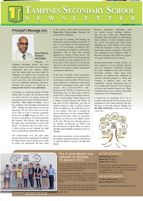 2012 TPSS Sem 1 Newsletter