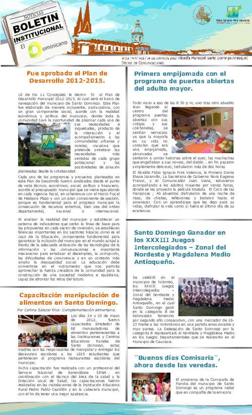 Boletín de prensa Alcaldia de Santo Domingo Antiquia