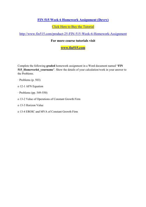 FIN 515 Week 6 Homework Assignment (Devry)