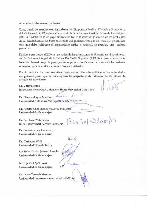 Carta de Solidaridad de la Comunidad Filosófica Alemana