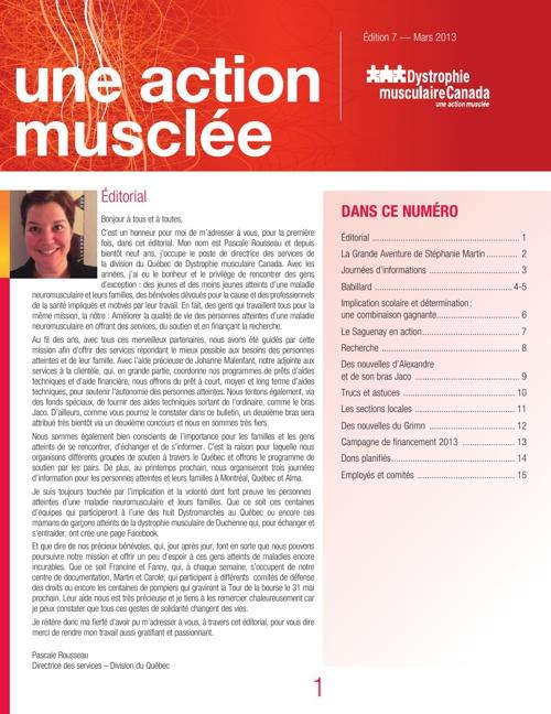 """Bulletin """"Une action musclée"""" - Mars 2013"""