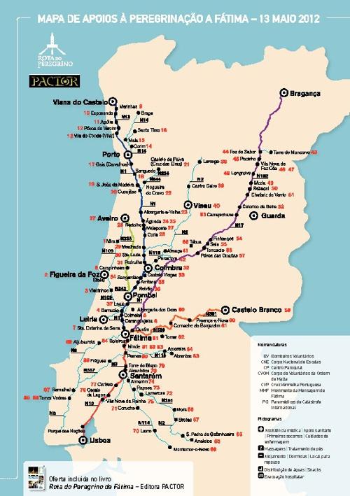 """Mapa incluído no livro """"Rota do Peregrino de Fátima"""""""