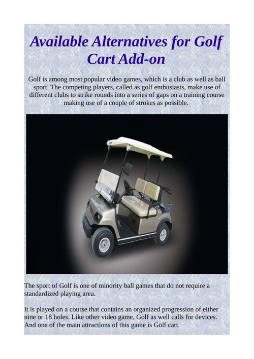 Available Alternatives for Golf Cart Add-on