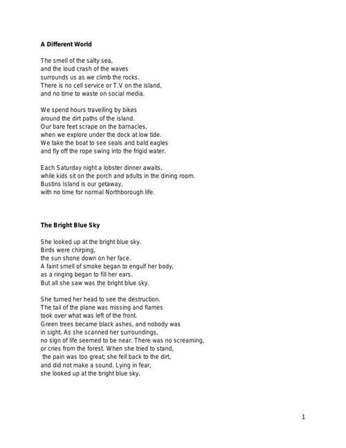 Free Verse Poetry Final Draft