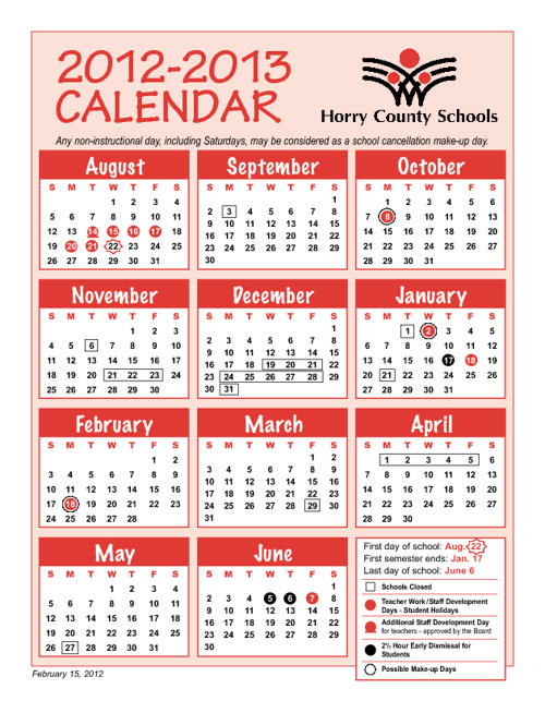 HCS Student Calendar 2012-2013