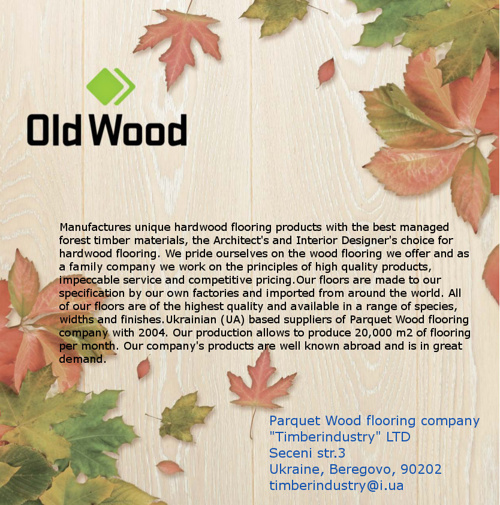 "Parquet wood  flooring ""Timber industry"" & ""Old Wood"" TM catalog"