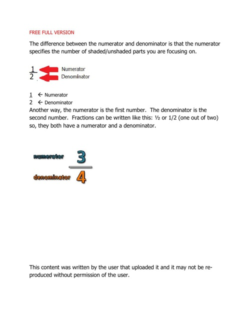 Numerator and Denominator eBook