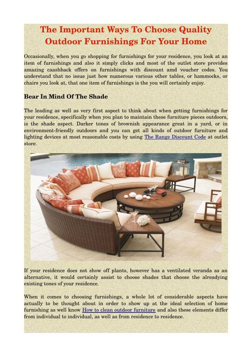 The Important Ways To Choose Quality Outdoor Furnishings For You