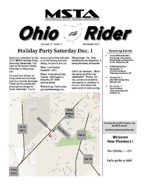 November 2012 Ohio MSTA Newsletter