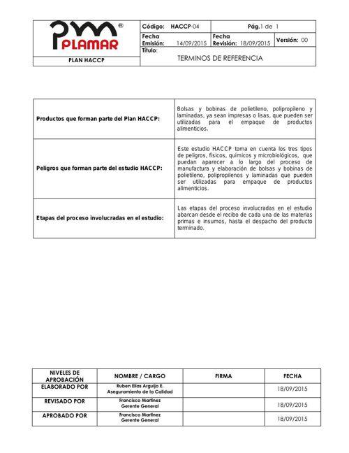 Plan HACCP Plamar Costa Rica