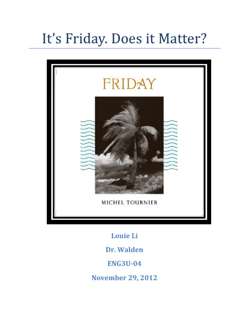 It's Friday. Does it Matter?