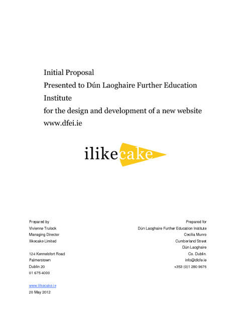 Website Proposal for Dún Laoghaire Further Education Institute