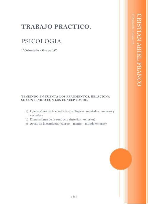 Trabajo Pràctico de Psicologìa Conceptos de la conducta 1º orien