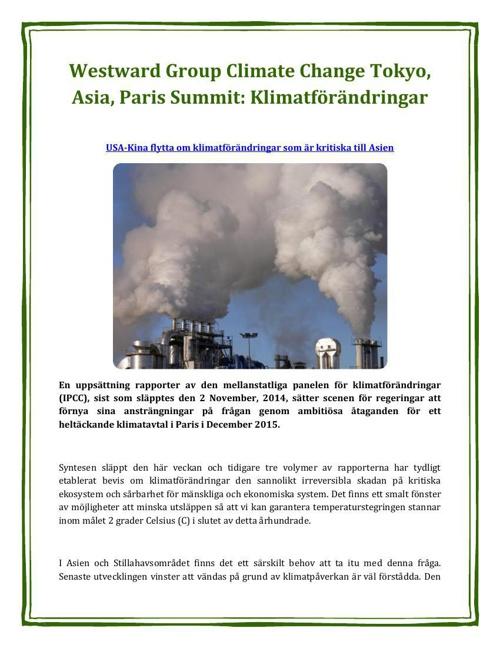 Westward Group Climate Change Tokyo, Asia, Paris Summit: Klimatf
