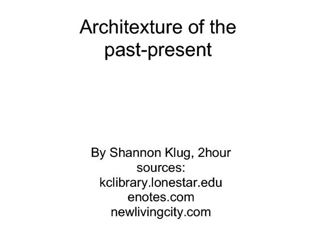 1920-2011 Architecture