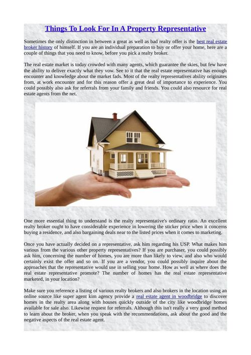 Things To Look For In A Property Representative