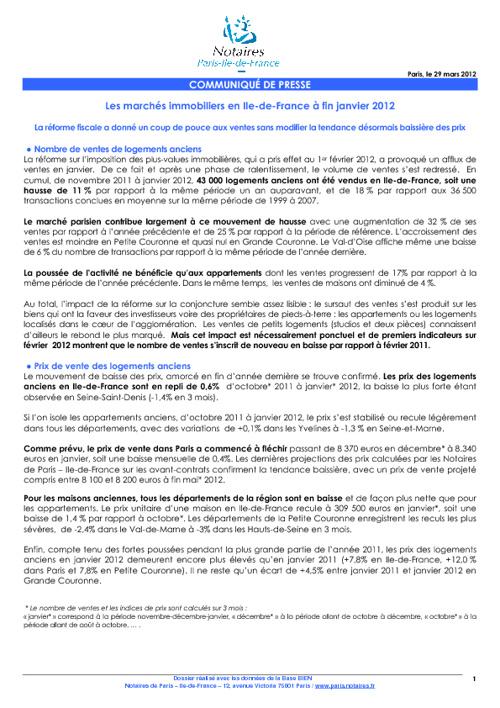 Indice mensuel janvier 2012