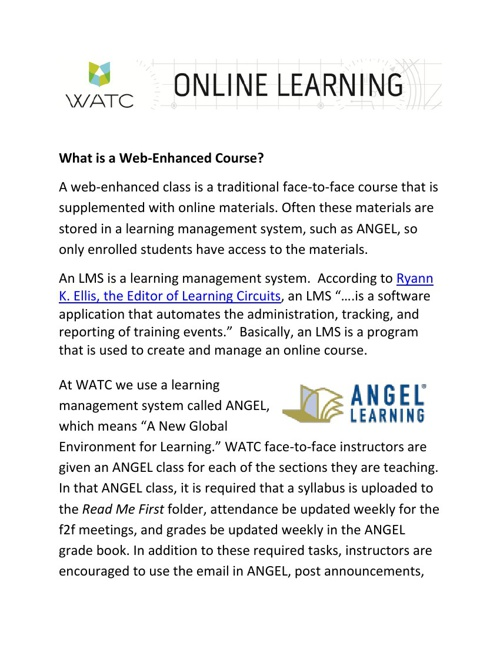 What is a Web-Enhanced Course?
