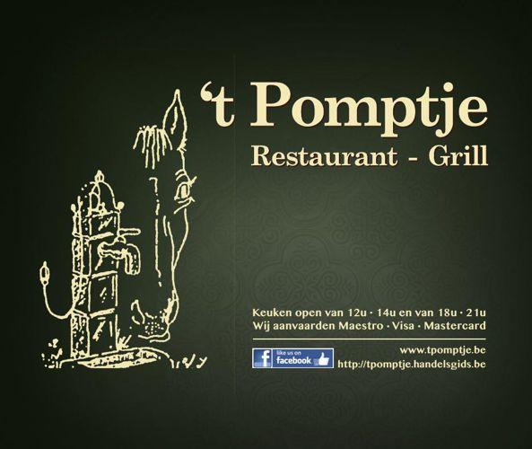 Menukaart restaurant 't Pomptje