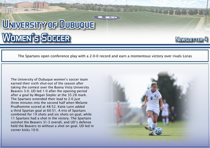 University of Dubuque Women's Soccer 2014 Newsletter: Issue 4