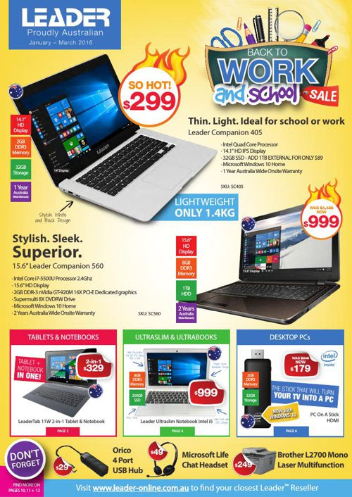 Leader Computers -  Back to Work and School Sale