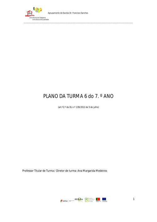 Plano de Turma - 7.º 6 - Atualização 1.º Período