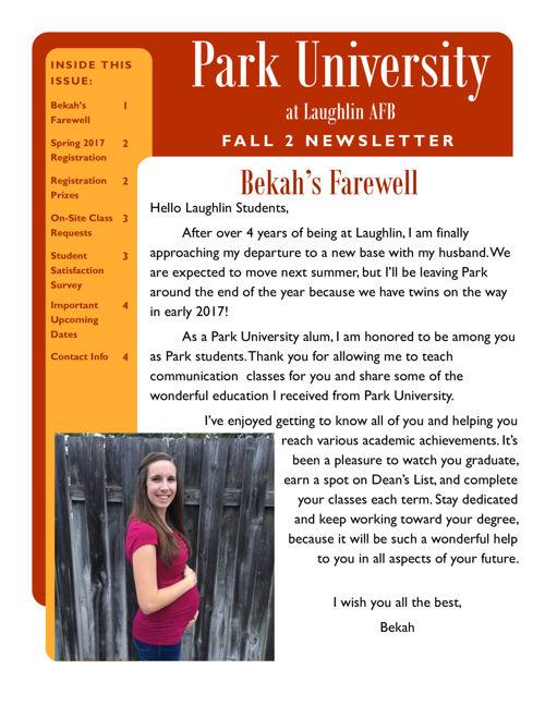 Fall 2 2016 Newsletter