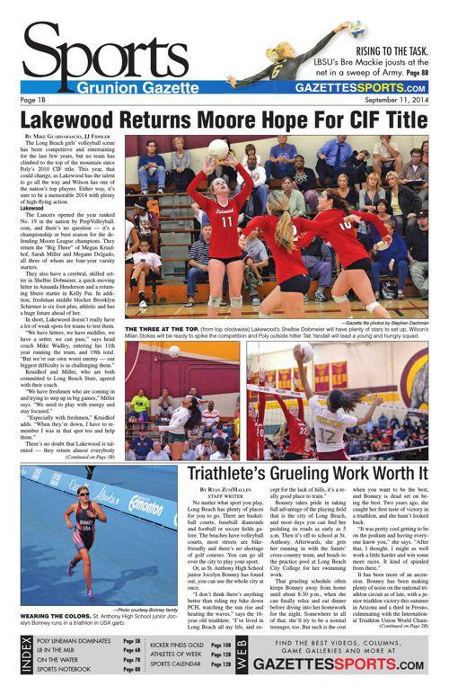 Gazette Sports   September 11, 2014