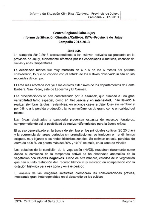 Informe de Situación Climática/Cultivos INTA Provincia de Jujuy