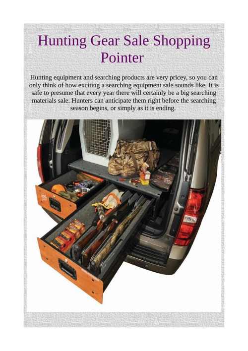 Hunting Gear Sale Shopping Pointer