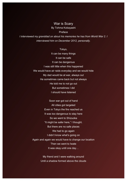 LASS War Poem