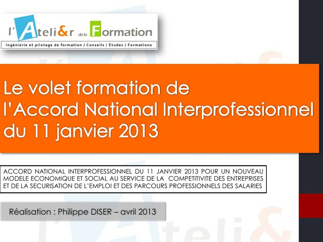 Volet formation de l'Accord National Interprofessionnel 01/2013