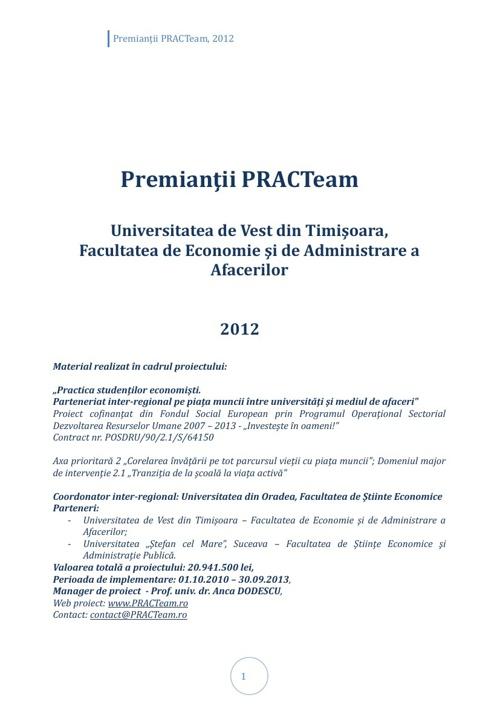 PRACTeam - Volum prezentare Premianți Timișoara, 2012