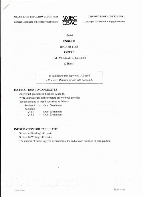 Higher Tier Paper 2002