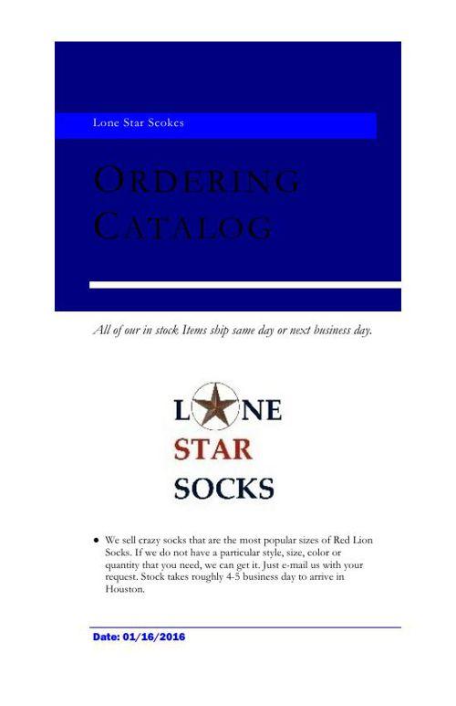 Lone Star Socks Catalog