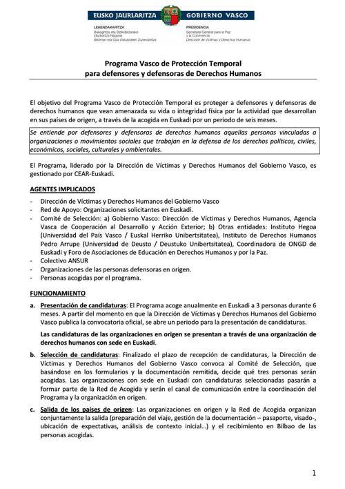 Programa Vasco de Protección Temporal para Defensores-as Derech