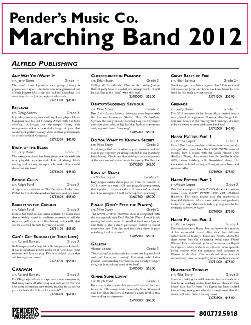 Marching Band Update 2012 | Pender's Music Co.