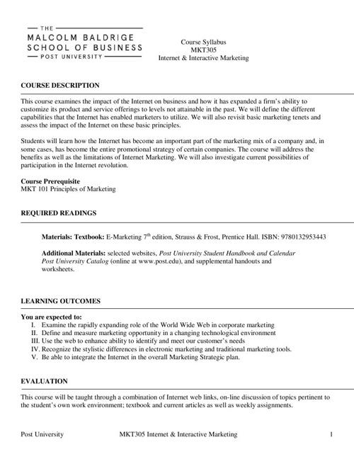 MKT305 Syllabus