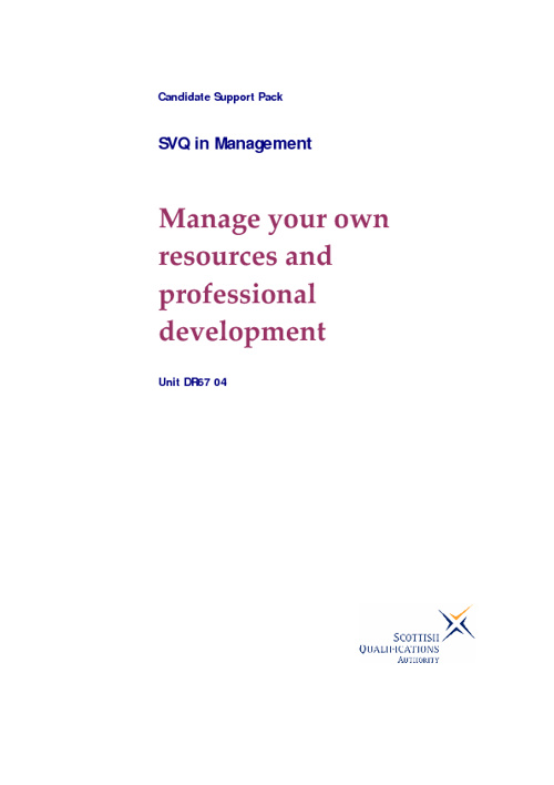 Manage your own resources and professional development