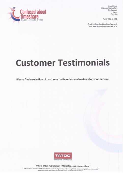 Confused About Timeshare - Customer Testimonials and Reviews