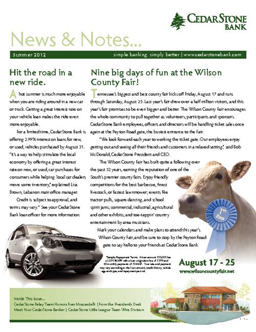 CedarStone News Summer 2012