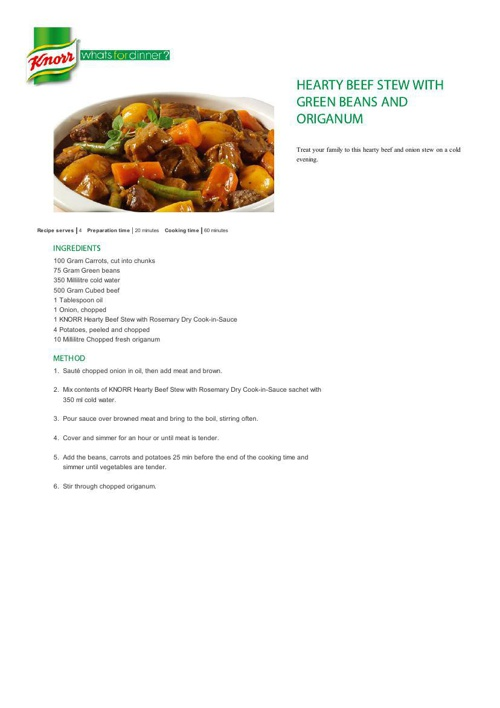 Hearty Beef Stew with Green Beans and Origanum