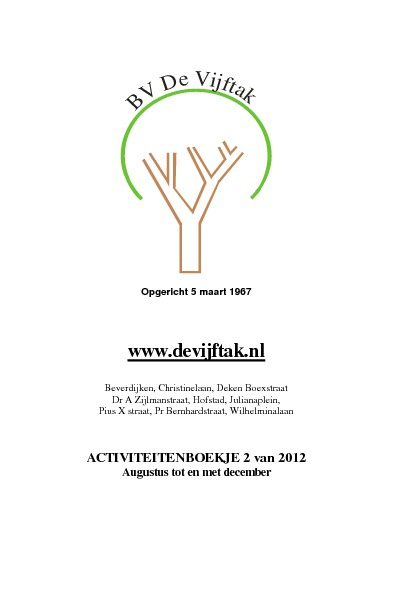 Activiteitenboekje 2de helft 2012