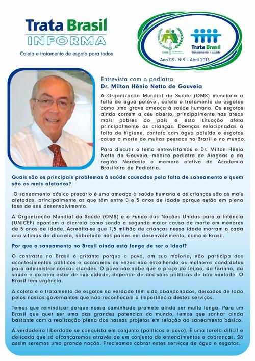 9ª Edição do Boletim Trata Brasil / Pastoral da Criança