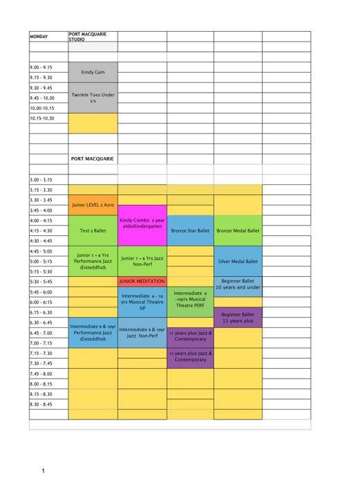 2018 Timetable website