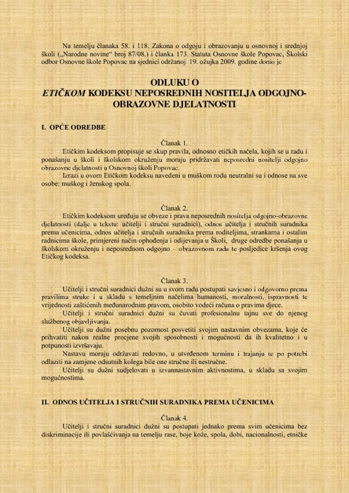 Etički kodeks škole