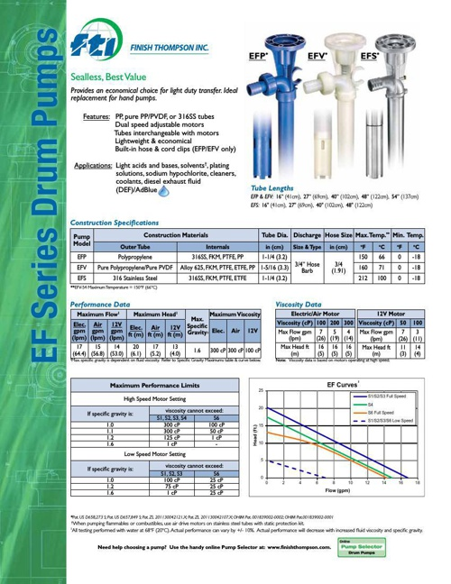 EF Series Drum Pump Technical Flyer