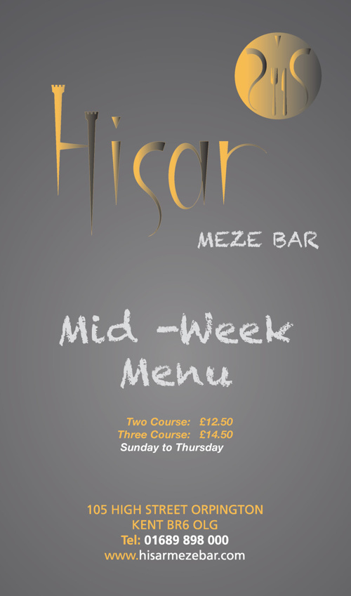Hisar Meze Bar - Mid Week Promotion Menu
