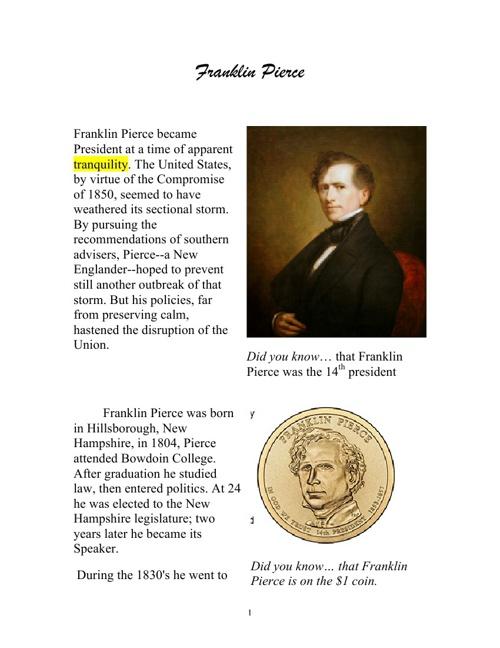 Flip Book on Franklin Pierce