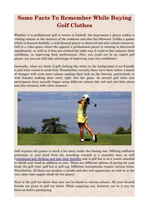 Some Facts To Remember While Buying Golf Clothes